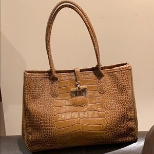 Longchamp Croco Embossed Genuine Leather Tote